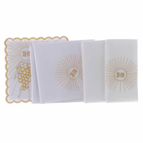 Set linge autel coton calice raisin doré croix blanche s2