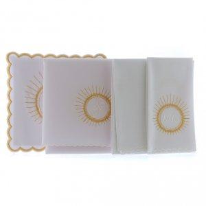 Set linge autel coton hostie broderie blanc IHS s2
