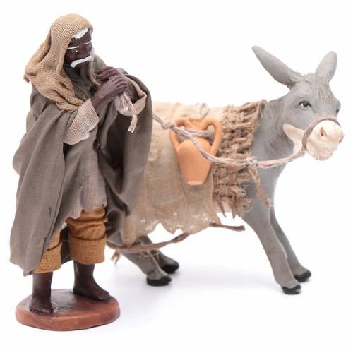 Shepherd pulling donkey 12cm Neapolitan Nativity s3