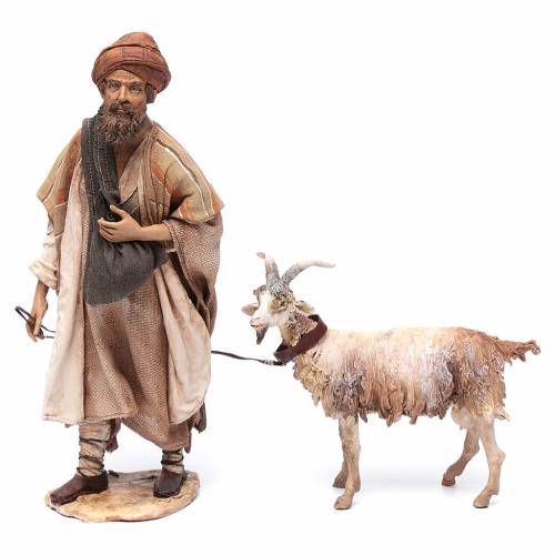 Shepherd with goat, 30cm made of Terracotta by Angela Tripi s1