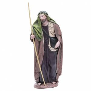 Nativity Scene figurines: Shepherd with saddlebag, Terracotta Nativity figurine 17cm