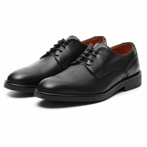 Shoes in opaque real black leather s5