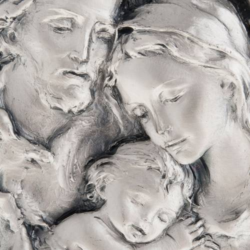 Silver bas-relief Holy Family on wood s2