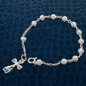 Silver bracelets: Silver decade bracelet with silver filigree cross