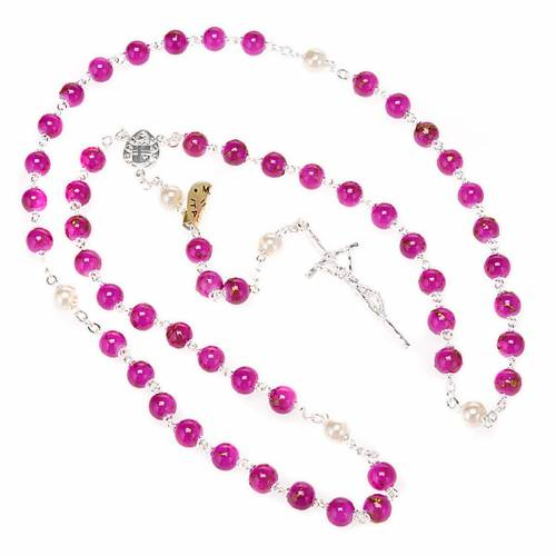 Silver plated and glass rosary s6