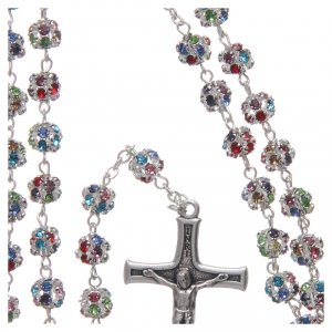 Silver rosary with strass grains multicoloured 6 mm s4