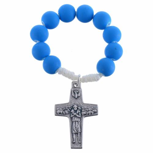 Single decade rosary beads in blue fimo, Pope Francis s1