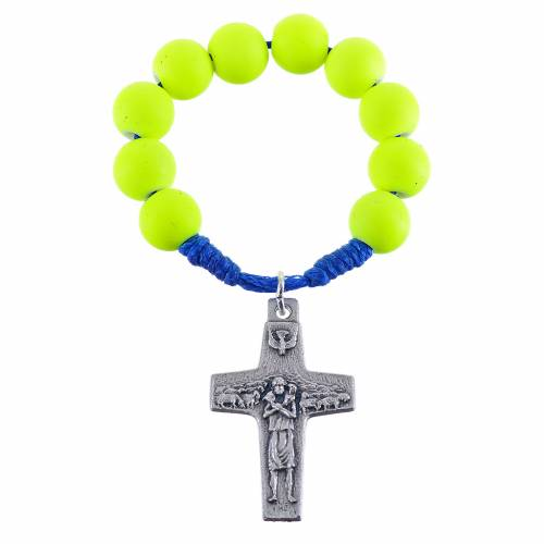 Single decade rosary beads in yellow fimo, Pope Francis s1