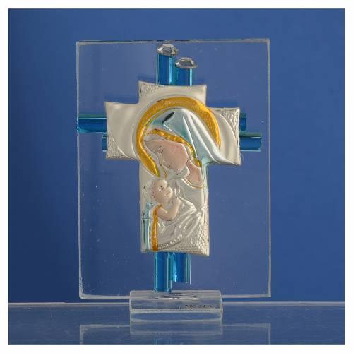 Souvenir Naissance croix verre Murano aigue-marine arg h 8 cm s2