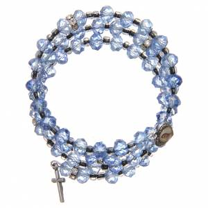 Bracelets, peace chaplets, one-decade rosaries: Spring bracelet light blue beads and cross, Our Lady of Medjugorje medal