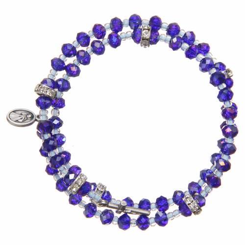 Spring bracelet violet beads and cross, Our Lady of Medjugorje medal s2
