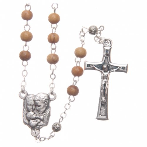 Square case in olive wood with wooden rosary 5 mm s3