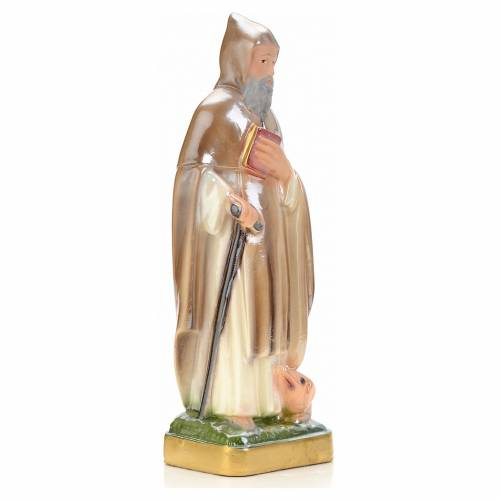 St Antony the Great statue in plaster and pearlized colors, 20 c s2