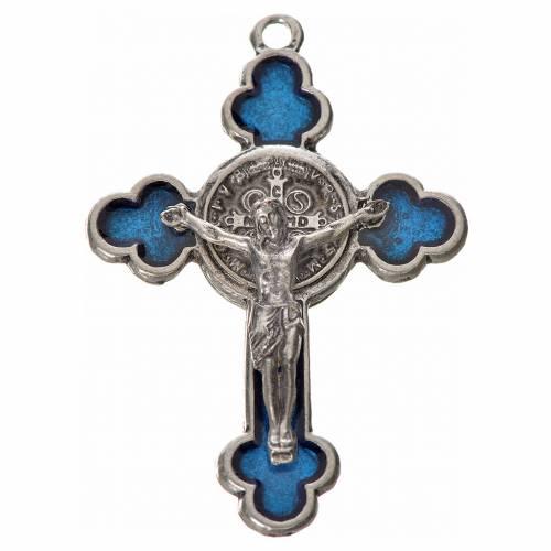 St. Benedict cross 4.8x3.4cm, trefoil, in zamak and blue enamel s1