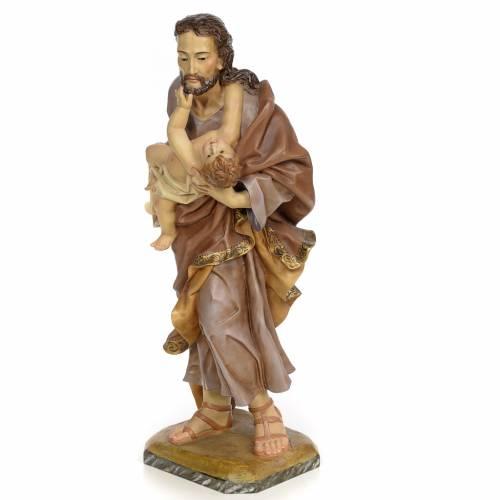 St Joseph et enfant 80 cm pâte à bois fin. vieillie s2