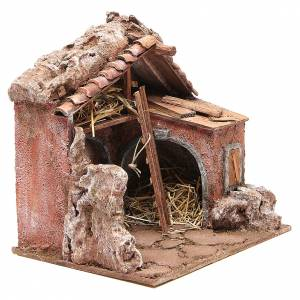 Stall for nativity with barn 25x24x18cm s3