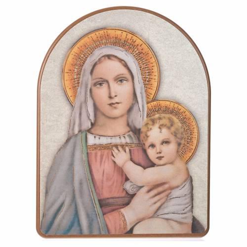 Stampa su legno 15x20cm Madonna con Bambino s1