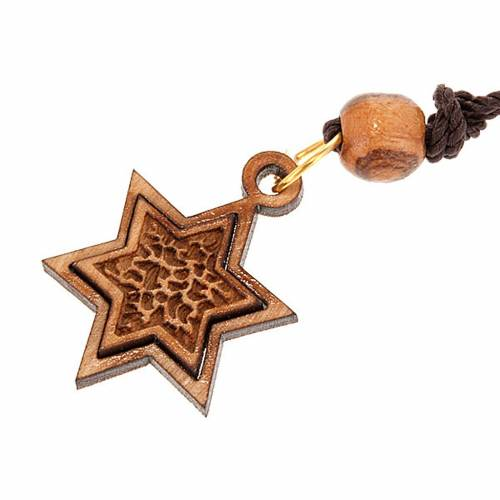 Star of David pendant olive wood s1