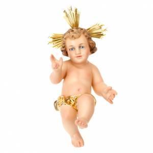Statue Gesù Bambino: Gesù Bambino pasta legno benedicente vestina dorata dec. elegan