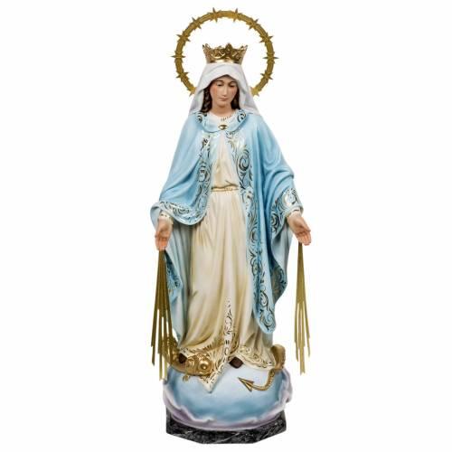 Statua Madonna Miracolosa 60 cm pasta di legno dec. elegante s1