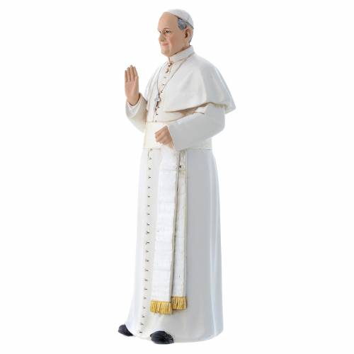 Statua Papa Francesco pasta legno colorata 15 cm s2