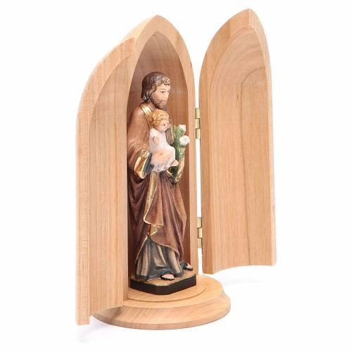 Statua San Giuseppe con bambino in nicchia legno dipinto s3
