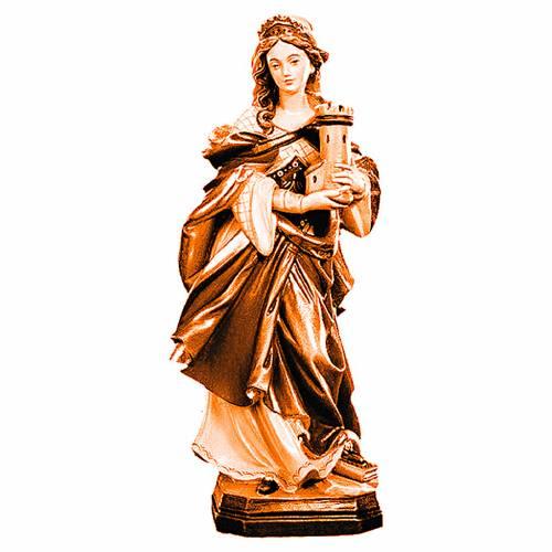 Statua Santa Barbara con varie tonalità di marrone in legno s1
