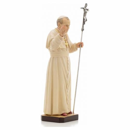 Statue bois Jean Paul II peinte s4