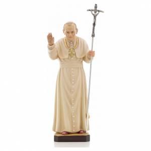 Statue bois Jean Paul II peinte s1