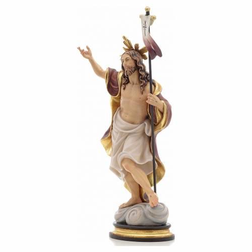 Statue bois Résurrection peinte s2
