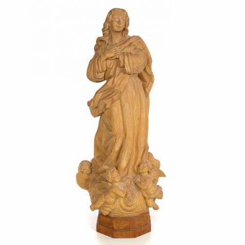 Statue Immaculée Conception 60 cm pâte à bois fin. brunie s1