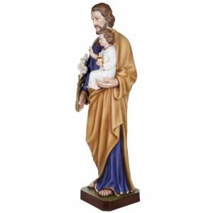 Fiberglas Statuen: Statue Josef mit Jesuskind 100 cm Fiberglas