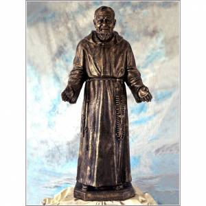 Fiberglas Statuen: Statue Pater Pio 110cm Bronze Finish, Landi