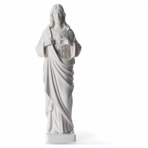 Statue Sacré Coeur de Jésus marbre reconstitué blanc 38 cm s1