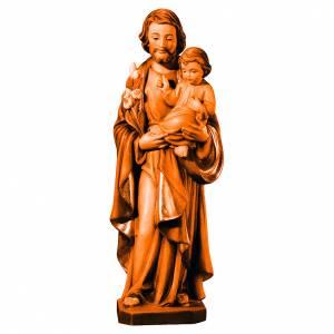 Statue Saint Joseph and Infant Jesus Val Gardena wood, brown shades s1
