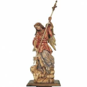 Statue Saint Michèle Archange en bois peint s1
