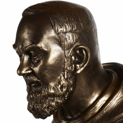 Statue San Pio fibre de verre patinée bronze 175 cm s8