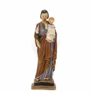 Statue St Joseph et enfant résine colorée 20 cm s1