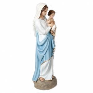 Statue Vierge à l'enfant marbre reconstitué 85cm peinte s6