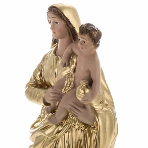 Statue Vierge et enfant dorée plâtre 30 cm s3