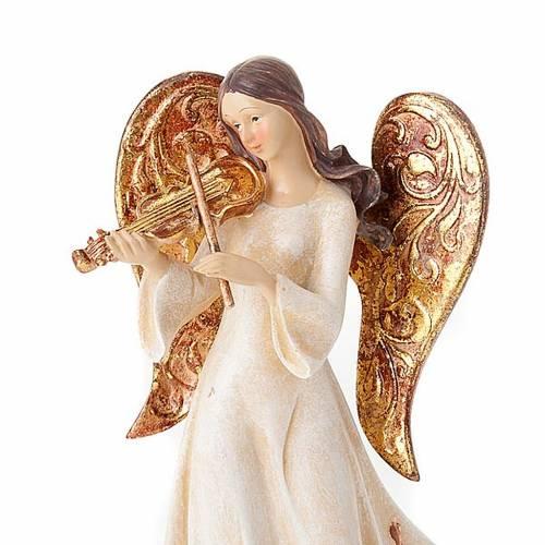Statues trois Anges avec instruments blanc et doré s2