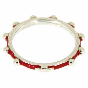 Prayer rings: Sterling silver rosary ring with red enamel, MATER