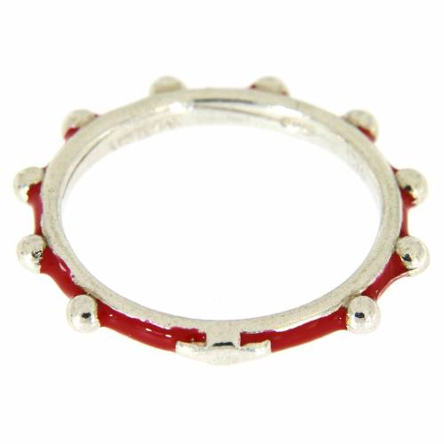 Sterling silver rosary ring with red enamel, MATER s2