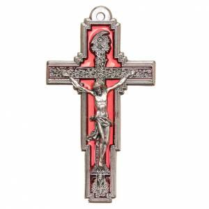 STOCK Croix Arbre Vie métal 9 cm émail rouge Christ s1