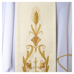 Priesterstolen: Stola reine Wolle, weiss, goldene Stickerei