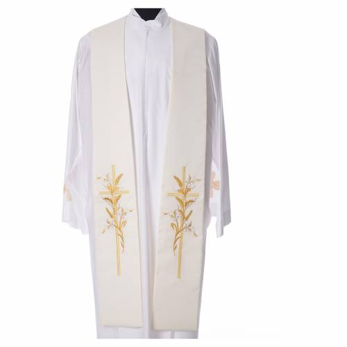 Stole in 100% polyester, stylised cross and ears of wheat s4