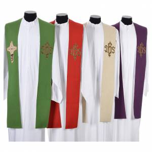 Stoles: Stole with cross and IHS in polyester, cotton and lurex