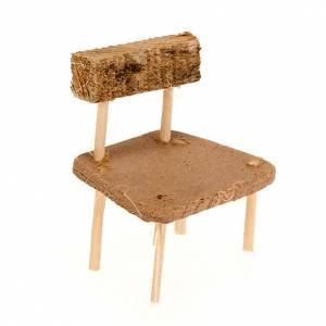 Hauszubehör für Krippe: Stuhl Krippe aus Holz 5 x 3,5 Zentimeter