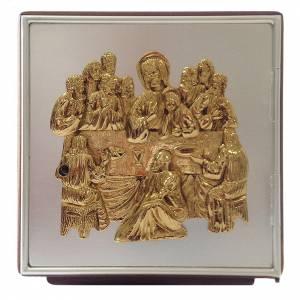 Tabernacle d'autel Cène bois et laiton s1