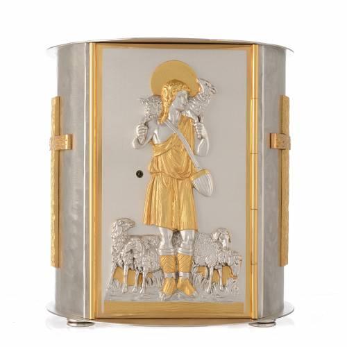 Tabernacle d'autel rond Bon Pasteur laiton doré s1